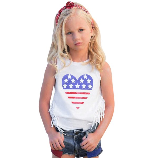 Baby Girls Clothing Set 4th Of July Star Stripe Tops Vest+Denim Shorts Outfits Star Print Sleeveless Daily Outfits