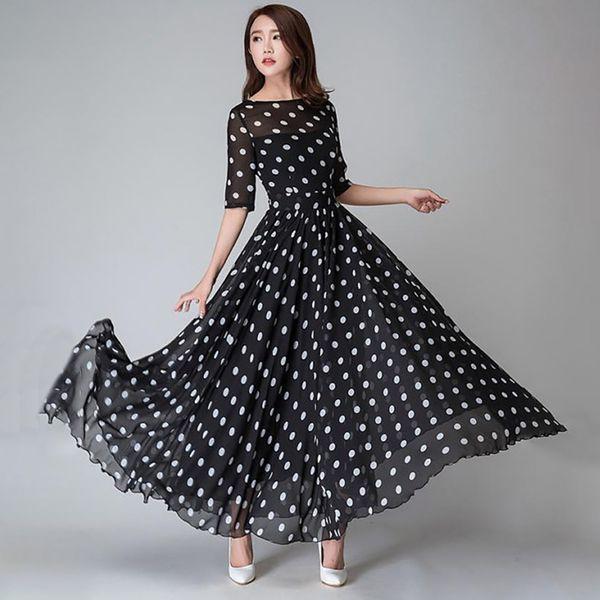 199902e7a110a96 Женщины черный горошек платье шифон элегантный винтажный принт платье  свободного покроя офисные праздники качели дамы макси