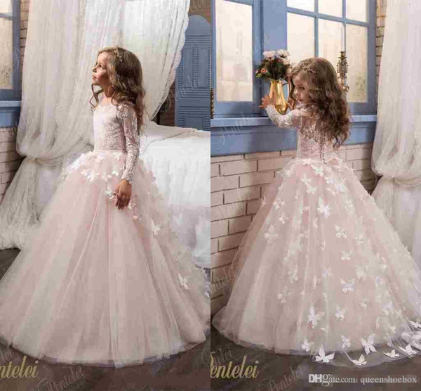 Flower Girls Dresses For Wedding 2017 Pentelei with Long Sleeves and Crew Neck Appliques Blush Pink Little Girls Prom Gowns