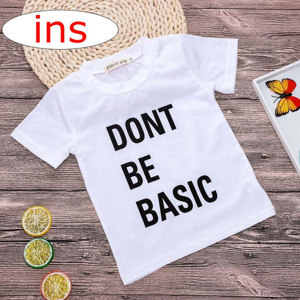 """Dont Be Basic "" letter print summer ins baby 100% cotton white tshirt tops tees girls chiffon long sleeved t shirts 1-6years free ship"
