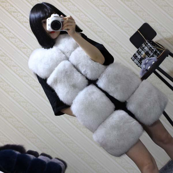 CAF396 CHEAPEST Exquisite 2018 Women Luxury Fake Fur Gilet Coats Mid Long Faux Fur Vest Jacket Women Sleeveless Black White Colors S-2XL