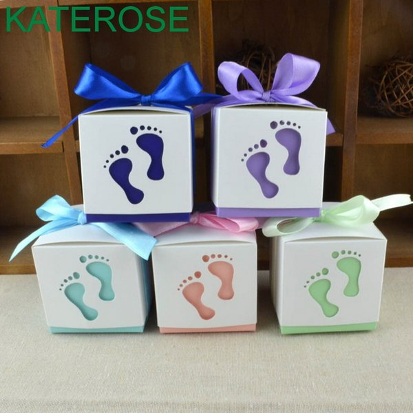 FREE SHIPPING 50PCS/LOT Cute Baby Feet Design Candy Boxes Baby Birthday Party Supplies Sweet Box Newborn Baptism Gift For Guest