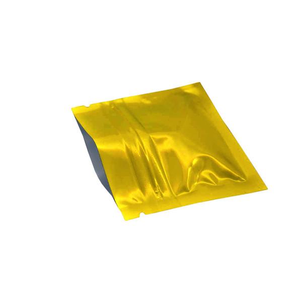 200Pcs / lot Petit Ziplock D'or En Aluminium Aluminium D'emballage Sacs 7.5 * 6cm Chaud Scellable Brillant Zip Lock Mylar Sac De Stockage pour Café Thé Capsule Pack
