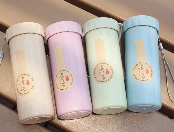 18oz Single Layer ECO Friendly Wheat Straw Bento Coffee Mugs Insaluted Thermos Water Bottle Tumblers Cups with Lids Wine Glass