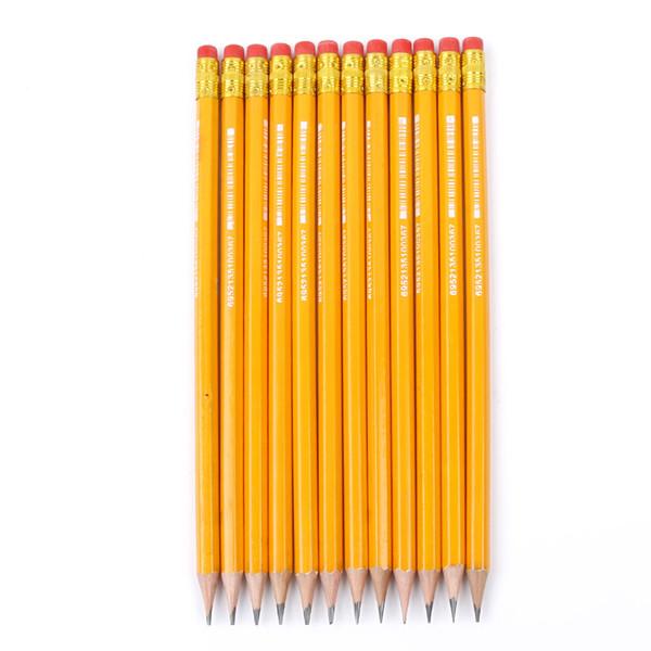 12pcs 표준 HB HB 연필 스케치 마호가니 어린이 고무 지우개로 연필 쓰기 연필 깎이 학생 선물 시상식