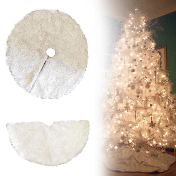 White Plush Christmas Tree Skirts Fur Carpet Xmas Decoration New Year Home Outdoor Decor Event Party Tree Skirts Outdoor Holiday Decorations Outdoor