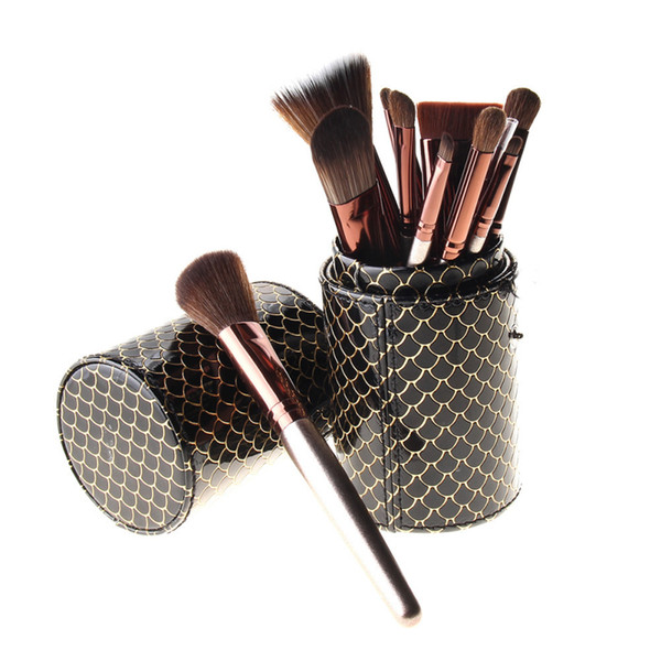 11pcs / Set Champagne Gold Makeup Brush Horse Hair Makeup Brush Set Fish Scale Bucket Beauty Tool kit Brush length 17cm