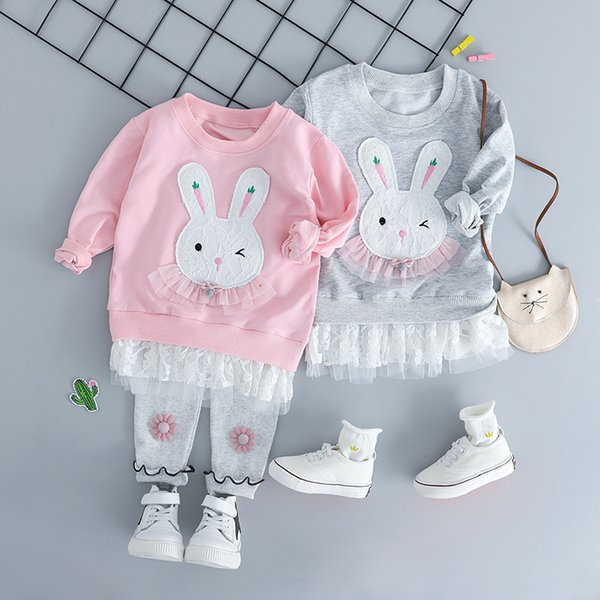 a5efc3baa Fashion Cute rabbit Infant clothes Long sleeve Baby Girl Clothes T shirt  +pant 2pcs Outfit