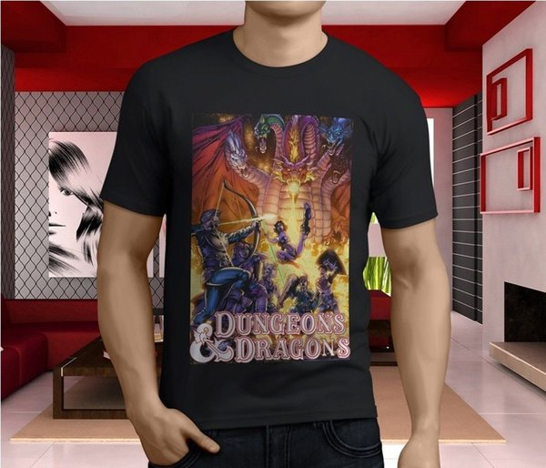 New Popular Dungeons amp Dragons Old School Carto Men's Black T-Shirt Size S-3XL