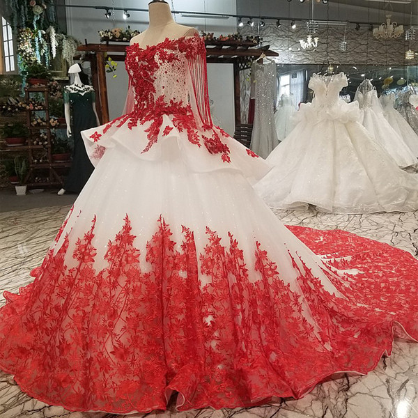 2019 sexy fuera del hombro flores rojas vestidos de noche de manga larga cariño vestidos de fiesta de noche para la muchacha de la belleza envío rápido