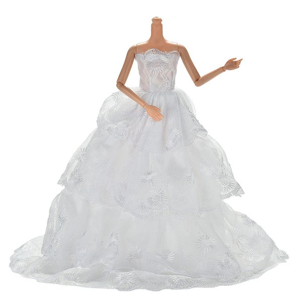 handmake Fashion White Princess Evening wedding Dress Clothing Gown For doll Clothes Doll dress 1Pcs