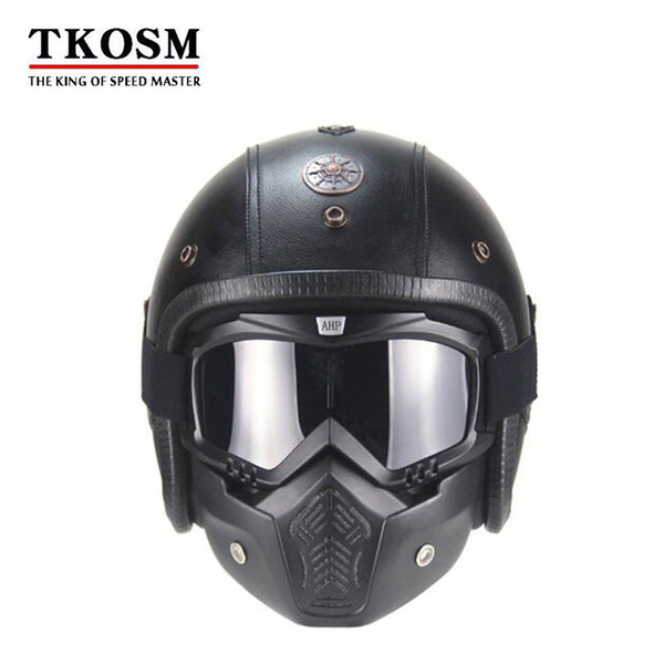 TKOSM PU Leather Harley vintage Helmets 3/4 Half Motorcycle Chopper Bike Helmet Open Face Motorcycle Helmet with Goggle Mask
