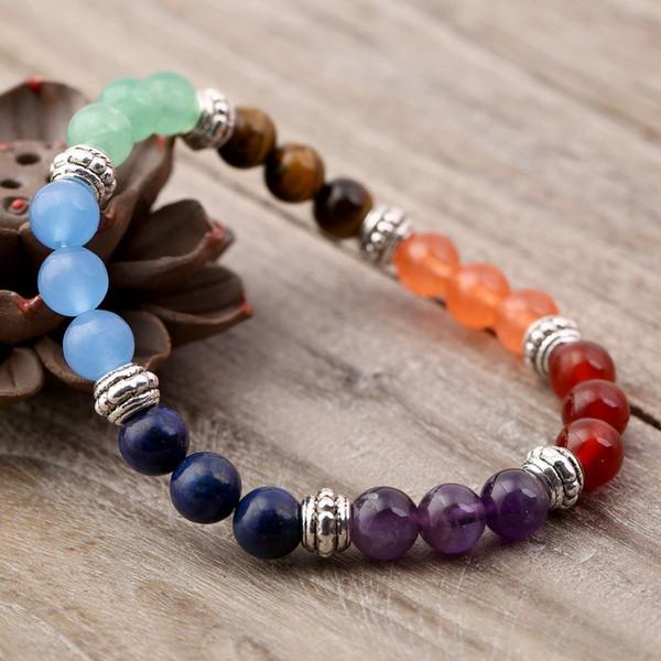 Energy Stone Beads Hand Hamsa Bracelet Hand Of Fatima Bracelet Rainbow Chakra Bracelet Jewelry For Men and Women