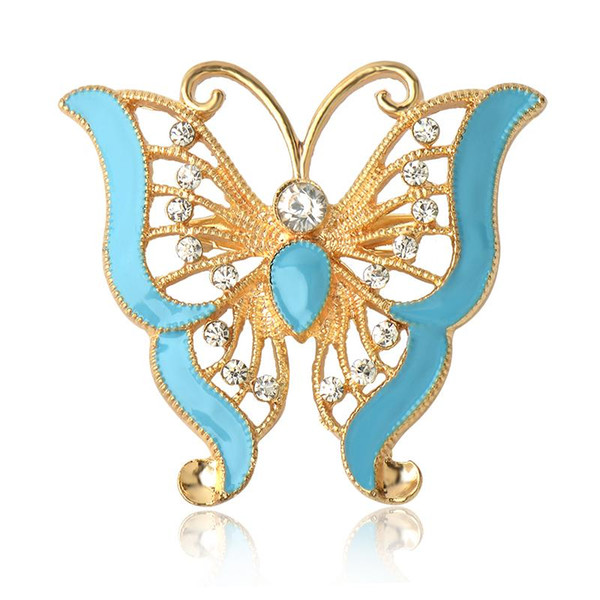 Großhandels- 2017 neue angekommene Mode Retro Gold Legierung Strass Brosche Epoxy Schmetterling Form weibliche Broschen für Frauen Sicherheitsnadel Schmuck