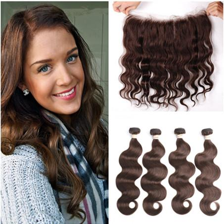 Brazilian Dark Brown Human Hair 4Bundles with Full Lace Frontal Closure 13x4 Body Wave #4 Chocolate Brown Virgin Hair Weaves with Frontal