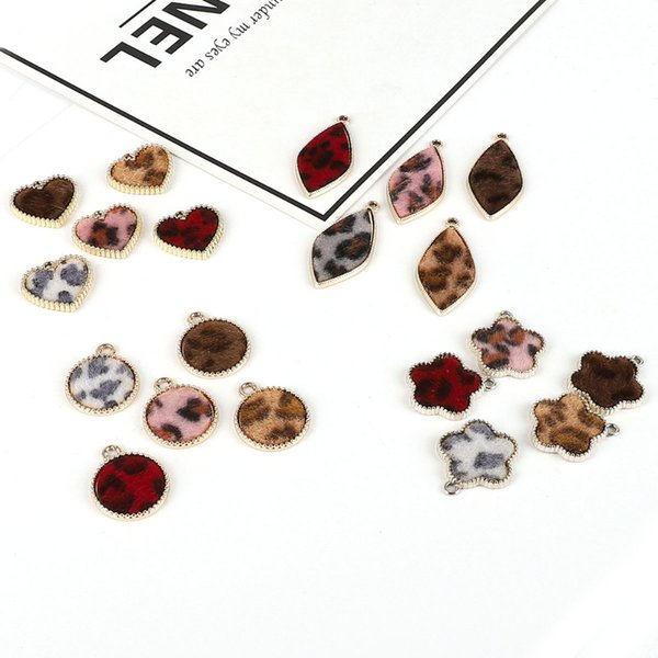 2018 Wholesale DIY Handmade Accessories Leopard Print Imitation Mink Hair Alloy Metal Charm Pendant DIY Earring Jewelry Making