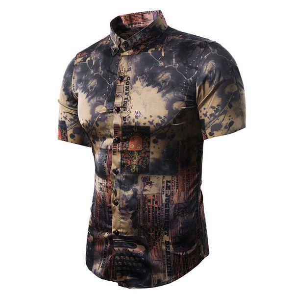 Men'S Shirt 2018 Summer New Men'S Fashion Shirt Casual Vintage Graffiti Newspaper Print Short Sleeve Men Shirts Male