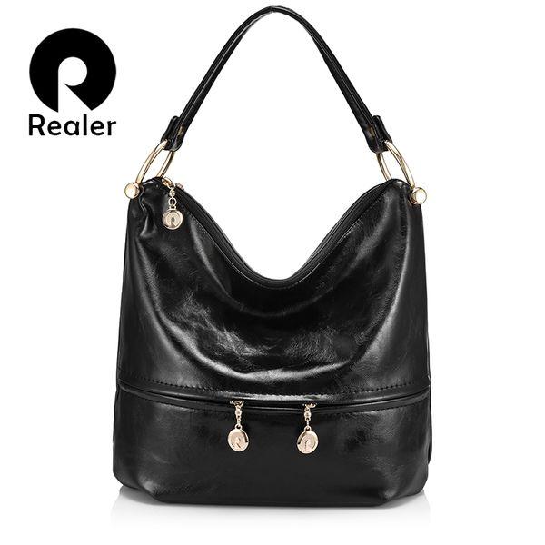 REALER luxury handbags women designer high quality female shoulder bag PU leather ladies large totes hobo zipper top-handle bags