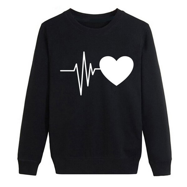 Women Autumn Long Sleeve Heart Printed Sweatshirt Pullover Casual Blouse Tops top female clothes befree black white girl F80