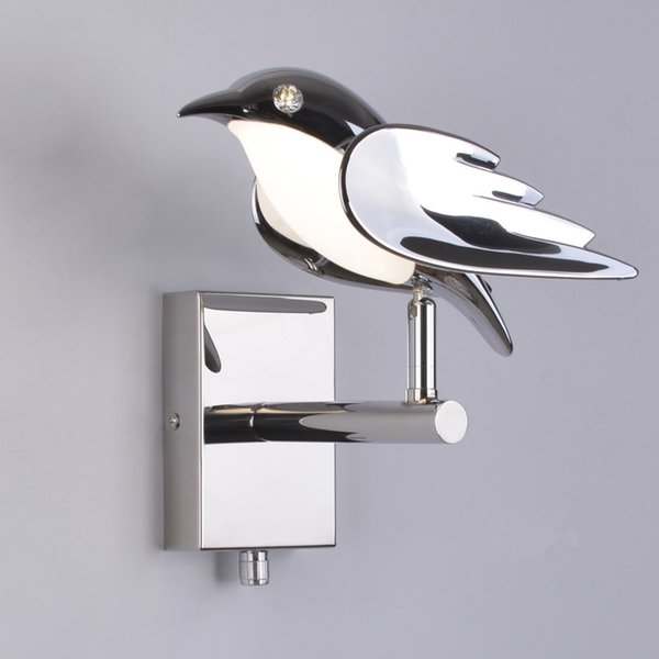 Plated Plastic Bird Wall Lamp with Stainless Steel Base LED Bedroom Bedside Wall Light Study Cafe Aisle Stairs Decoration Art Wall Sconce