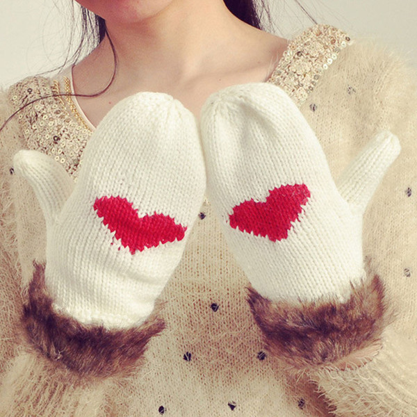200PAIRS / LOT Women Winter Heart Pattern Cute Gloves Full Finger Knitted Mittens Warm Faux Fur Gloves