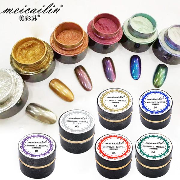 6 botella / lote Espejo Polvo Pigmento Polvo De Aluminio Cromo Pigmento Nail Glitters Lentejuelas Uñas DIY Decoración de Uñas Herramientas 5 g / botella