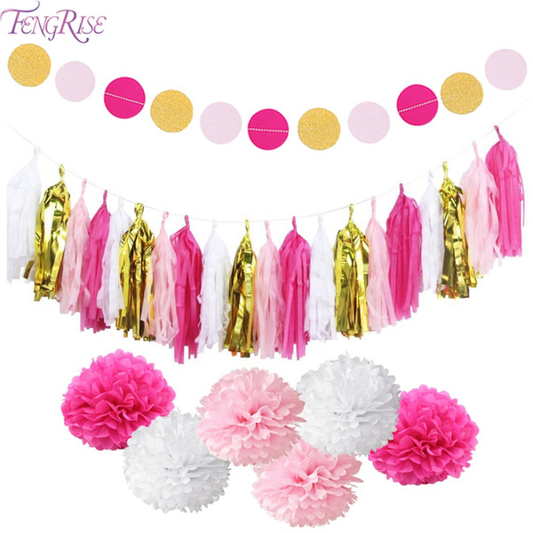 FENGRISE Wedding Decoration Paper Tissue Tassel Hanging Garland Birthday  Party Decoration Kids Party Favors Christmas Supplies Birthday Party Stuff