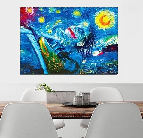 Van Gogh Starry Night Joker,Handpainted /HD Print Modern Abstract Wall Art Oil Painting on Canvas Home Decor Multi Sizes /Frame Options Vg29