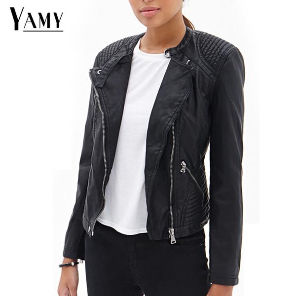 Compre Chaqueta De Piel Sintética Negra Para Mujer Chaqueta Corta De Primavera Motociclista Prendas De Vestir Exteriores Moto Motocycle Chaquetas Punk