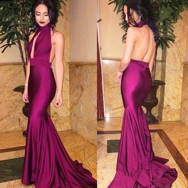 JaneVini Sexy Long Mermaid Formal Evening Dresses 2018 High Neck Arabic Women Strech Satin Evening Tight Fitted Party Gowns Evening Wear