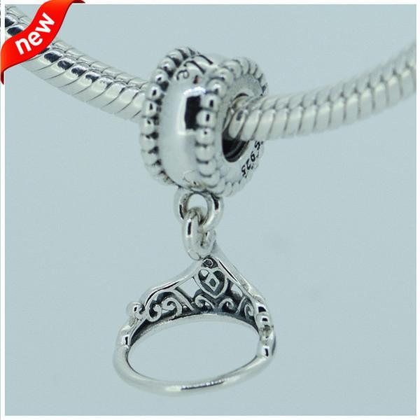 5 teile / los großhandel DISNY Belle tiara silber baumeln charme S925 sterling silber passt pandora stil armbänder 791568 H6