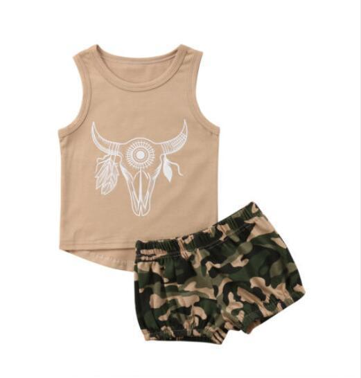 Jungen Mädchen Baby Kleidung Sets Camouflage Set Shirt Shorts 2Pcs Set Sommer ärmellose Kleinkind Tops Boutique Säuglings Outfits Deer Cow Head