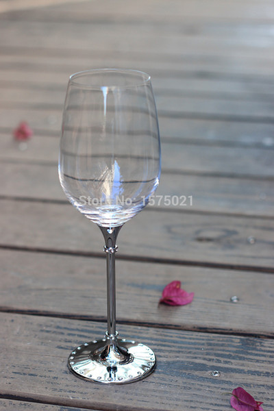 2016 hot sale crystal clear 412ml drinking wine glass with metal stem
