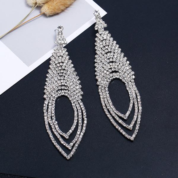Women Crystal Rhinestone Water Drop Dangle Earrings Claws Chain Layers Drop Earrings Wedding Party Bridal Jewelry Accessories