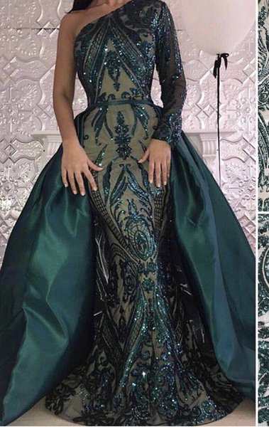 Dark Green Prom Dresses One Sleeve Sequins Embroidery Mermaid Gown With Detachable Court Train