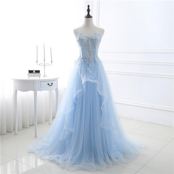 Moda Lace Prom Dresses New Romântico Strapless Tule vestidos de baile Capela Trem Robe De Mariage CMW0010