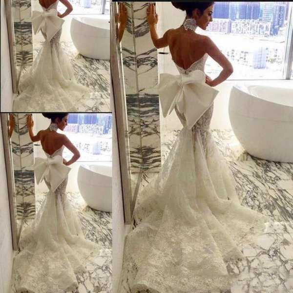 Lace Applique Wedding Dresses 2018 Mermaid Sweetheat With Bow Backless Beach Country Bridal Gown vestido de noiva robe de mariée