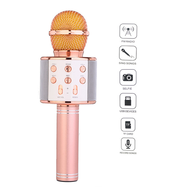 Fashion WS858 Bluetooth Wireless Condenser Magic Karaoke Microphone Mobile Phone Player MIC Speaker Record Music With Package