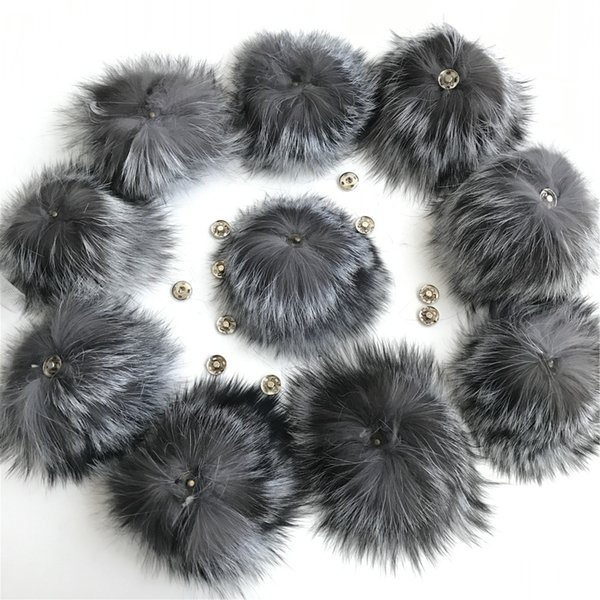 50 pieces /set 12-13cm real genuine silve fox fur balls fur hat winter hats Fur pom for shoes 100 real cap accessories Free Shipping