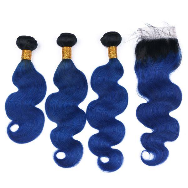 Radici scure 1b blu Ombre Capelli 3 Bundles con chiusura in pizzo 4x4 Colore blu Tessiture per capelli con chiusura superiore Pezzi 4 Pz / lotto