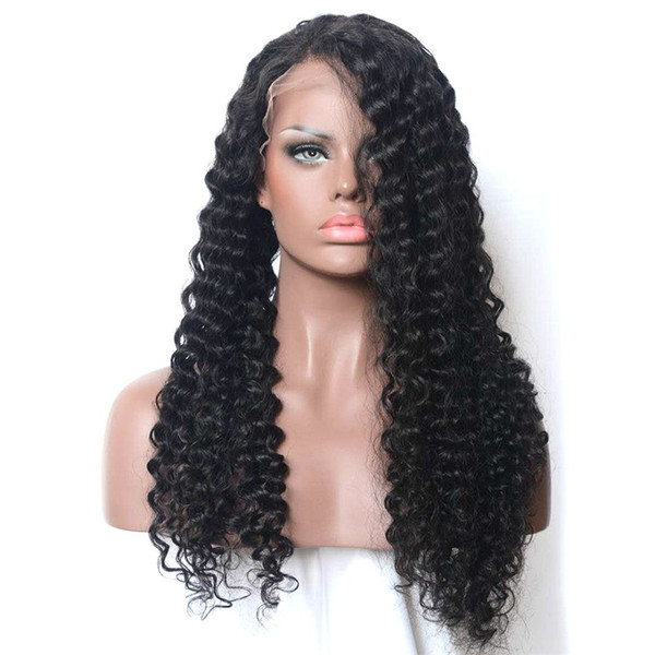 Kinky Curly Virgin Hair Full Lace Wig for Black Women Cheap Mongolian Human Hair Lace Front Wig 8-28 inches Ping