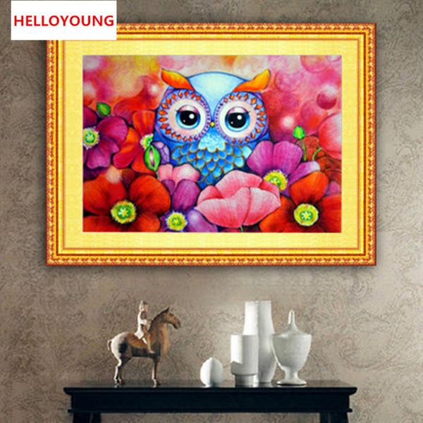 DIY 5D Full Diamond Embroidery The Cute Owl Round Diamond Painting Cross Stitch Kits Diamond Mosaic Home Decoration
