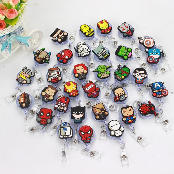50 pcs/lot Superhero Design Nurse Retractable Badge Reel Pull ID Card Badge Holder Belt Clip Hospital School Office