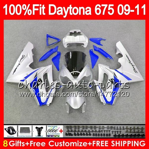 Injection For Triumph Blue silver Daytona 675 09 10 11 12 Bodywork 107HM.28 Daytona-675 Daytona675 Daytona 675 2009 2010 2011 2012 Fairing