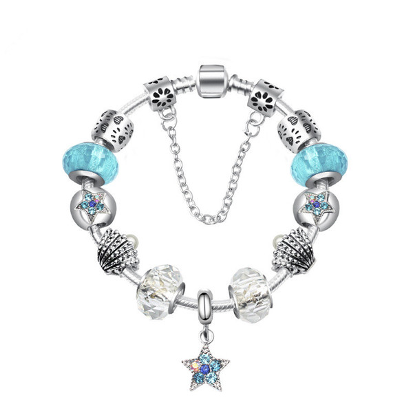 Fashion Blue Ocean European Charm Beads DIY Bracelet for Pandora Style Women's Gifts