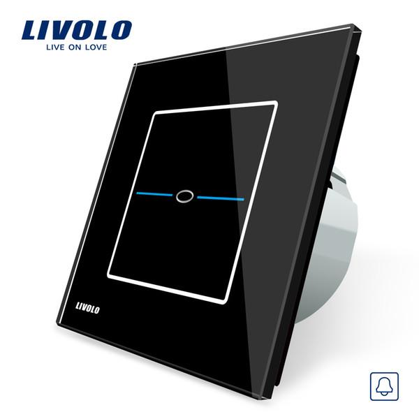 Livolo EU Standard, Interruptor de timbre de puerta, Panel de interruptor de cristal de vidrio negro, Interruptor de timbre de puerta de pantalla táctil 220 ~ 250V, VL-C701B-32