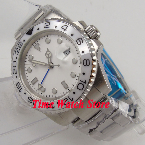 40mm Bliger white dial luminous sapphire glass white ceramic bezel date window GMT Automatic movement Men's watch 184