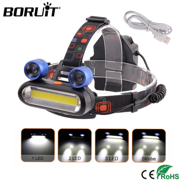 BORUiT COB LED Headlamp 4-Mode Waterproof Headlight Hunting Head  For Fishing Outdoor Camping Night Lighting