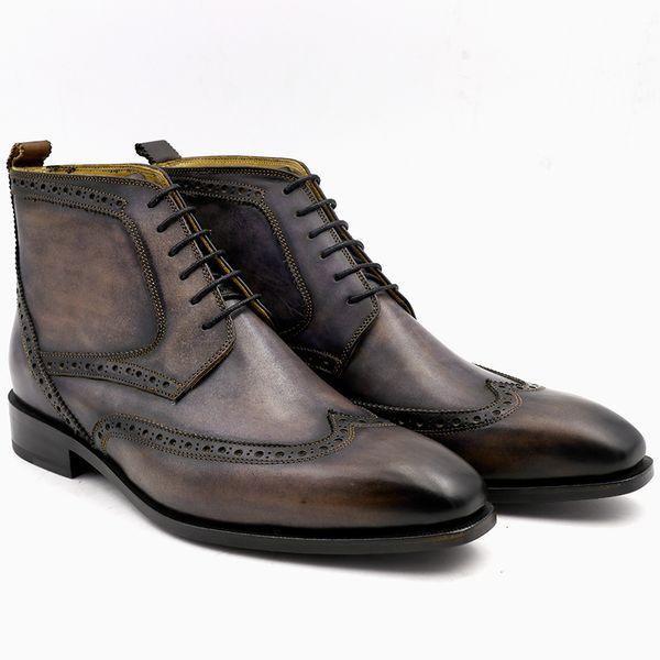 Men Boots Custom Handmade Patina Grey Square Brogue Toe Full Grain Lacing Derby Ankle Boots Uomo Scarpe Genuine Calf Leather BT 02 Footwear Fringe