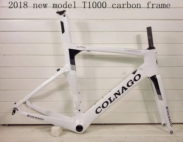 2018 NOVO colnago conceito T1000 UD carbono bicicleta cheia de carbono quadro da bicicleta de estrada de corrida frameset branco preto cor, vender rodas